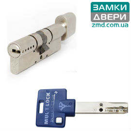 Цилиндр Mul-t-lock Interactive+ 120 (60х60Т) тумблер, никель сатин, 3кл