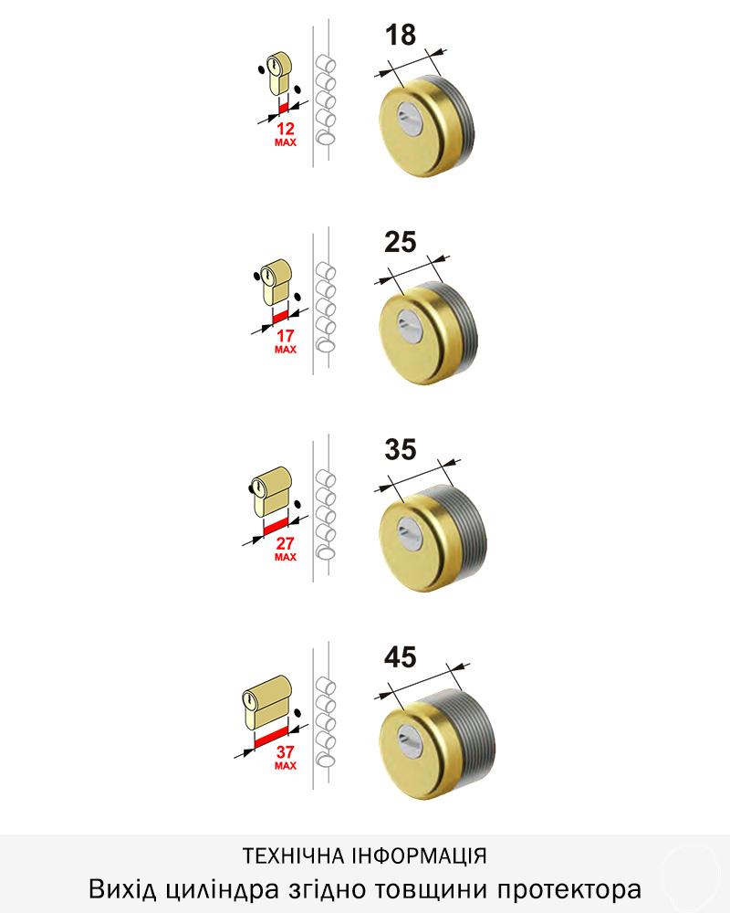 Броненакладка Disec BDS16 SFERIK ROK h=25 mm (с ответн.част.КТ-036), хром